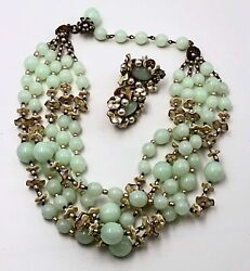Haskell Pastel Green Necklace Set4-strand Glass Beadspearlssigned1950