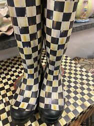 Mackenzie Childs Courtly Check Size 7 8 Rain Retired And Rare