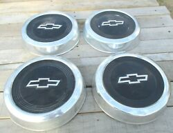 1967-1972 Chevy Hubcaps Set Of 4 Dog Dish Style 10.75 In-vintage Car
