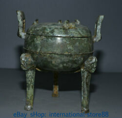 8 Antique China Bronze Ware Dynasty Place 3 Dragon Leg Lid Incense Burners