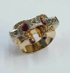 Antique Ring Natural Old Cut 0.7 Ct Diamond Ruby Rings Women Jewelry Gold 18k