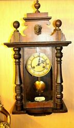Antique 1900 German Mahogany Wood Cased Wall Clock Working With Original Key