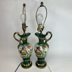 Vintage Pair 1960and039s Painted Table Limoge Floral Jug Ewer Pitcher Lamps 25 Tall
