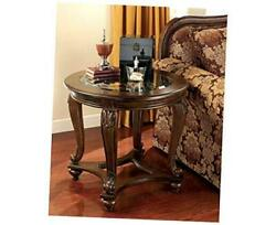 Norcastle Traditional Round End Table Dark Brown Round Ornate