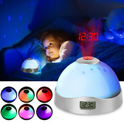 Digital Projection Alarm Clock LCD Display Snooze Function 7 Color Light Change