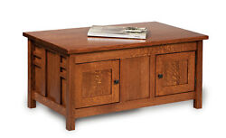 Amish Mission Rustic Coffee Table Occasional Solid Wood Furniture Storage Oak