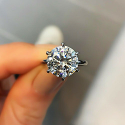 5.0 Ct Round Cut Moissanite Solitaire Engagementand Wedding Ring White Gold Plated