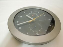 Greenwich Weather Station Quartz Wall Clock Temperature amp; Humidity w Glass Lens
