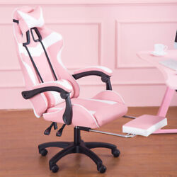 Comfy Pink Gaming Chair Racing Pc Leather High Back Recliner Office Swivel Seat