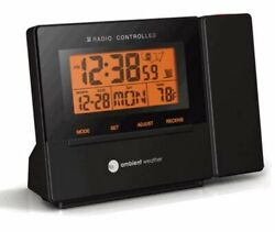 Radio Controlled Projection Alarm Clock With Indoor Temperature Ceiling Or Wall