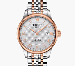 Tissot Watch Le Locle Powermatic 80 Gold Silver Automatic Dress Formal Luxury