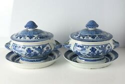 Pair Of 19th Century Chinese Export Blue Canton Covered Tureens W/ Underplates