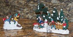 Boys Building Snow Fort And Having Snowball Fight 2 Christmas Village Figurines