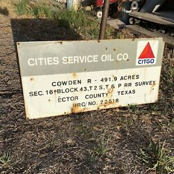 Vintage Porcelain Cities Service Oil And Gas Corp Citgo Oil Well Lease Sign Cowden