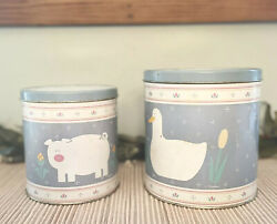 Two Vintage Country Farmhouse Kitchen Tin Canisters Light Blue Pig And Duck