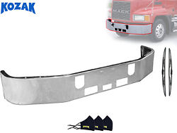 16 Mack Ch Steel Front Bumper Chrome 1994-2004 + Wipers And Face Masks