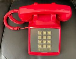 Vintage Stromberg-carlson Red Touch Tone Modular Desk Phone - Tested Works