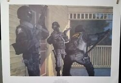 Knock Knock Dea..cle Team Police Print By Max Crace 1989..very Good Condition