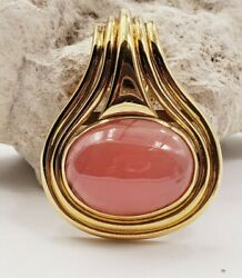 Oval Cabachon Rhodochrosite Pendant In18kt Yellow Gold - Rose Crystal Color