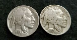 Nice Lot Of Two Vf 1931-s Buffalo Nickels