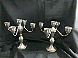 Estate Sterling Silver Pair 5 Light Gadrooned Candelabrum By Duchin Creations