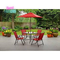 Mainstays 6 Piece Patio Folding Dining Set Steel Frame Outdoor Furniture Red New