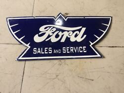 Ford Wings Universal Car Porcelain Sign 24 X 11 Inches 2 Sided Pre-owned