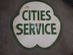 Porcelain Cities Service Enamel Sign 24 Inches.