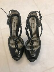 Moschino Black Patent Leather Women's High Heels Shoes Sz 38 7.5 $20.00