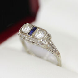 Lovely Antique 3 Stone Diamond And Sapphire Ring, In Beautiful White Gold Flo...