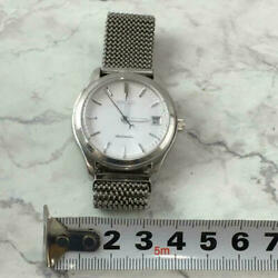 Seiko Mechanical 4s35-8000at Automatic White Silver Dial Wristwatch Vintage Rare