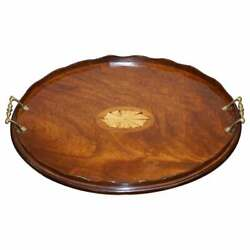 Lovely Antique Victorian Walnut And Bronze Sheraton Inlaid Butlers Serving Tray
