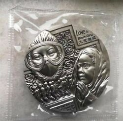 2020 China 80mm Solid Silver Around 460 Grams Medal - Fight Virus
