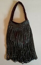 Vintage Hand Beaded And Crochet Evening Bag $62.95
