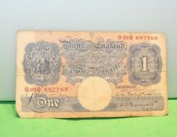 Vintage One Pound Bank Of England One Pound Bank Note Paper Money