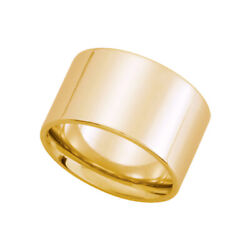 12mm Flat Comfort Fit Wedding Band In 14k Yellow Gold