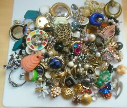 Vintage Mixed Single Earring Lot Over 243 Pieces Some Signed
