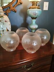 Set Of Etched Glass Ball Shades For Kerosene Oil Gas Lamps Hanging Fixtures