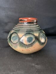 Vintage Small Tiny Red Clay Glazed Bowl Vase Pottery Hand Painted 1 3/4