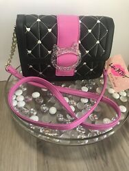 Betsey Johnson Quilted Hearts Crossbody Purse Glitter Cat Clasp Pink/black New