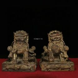 Pair 8 Inch Old Bronze Copper Home Feng Shui Exorcise Evil Spirits Foo Dogs Lion