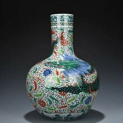 23 Inch Chinese Colourful Wucai Porcelain Home Decorate Dragon Jar Vase Statue