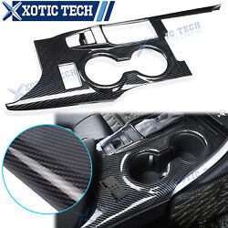 Carbon Fiber Abs Center Console Cup Holder Panel Trim For Toyota Camry 2018-2020
