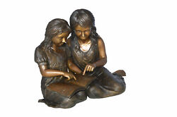 Two Girls Reading A Book Bronze Statue - Size 33l X 21w X 23h.