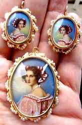 Signed Gamliel Set Of 14k Solid Gold, Seed Pearls, Portrait, Pendent And Earrings