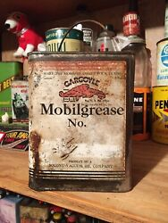 Vintage Mobil 5 Lb Soldered Seam Grease Can Gas Oil Gargoyle