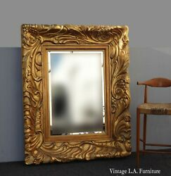 Large 57hx45 Vintage French Ornately Carved Gold Wall Mantle Beveled Mirror