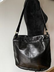 HOBO INTERNATIONAL Glazed Black Leather Shoulder Bag Purse $60.00