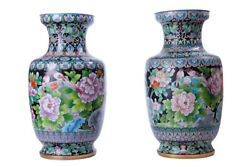 Vintage 20th Original Chinese Large Pair Vases With Birds And Flowers 52 Cm