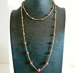 Vintage Necklace Years 60 Double Thread Gold Solid 18k And Coral Made In Italy